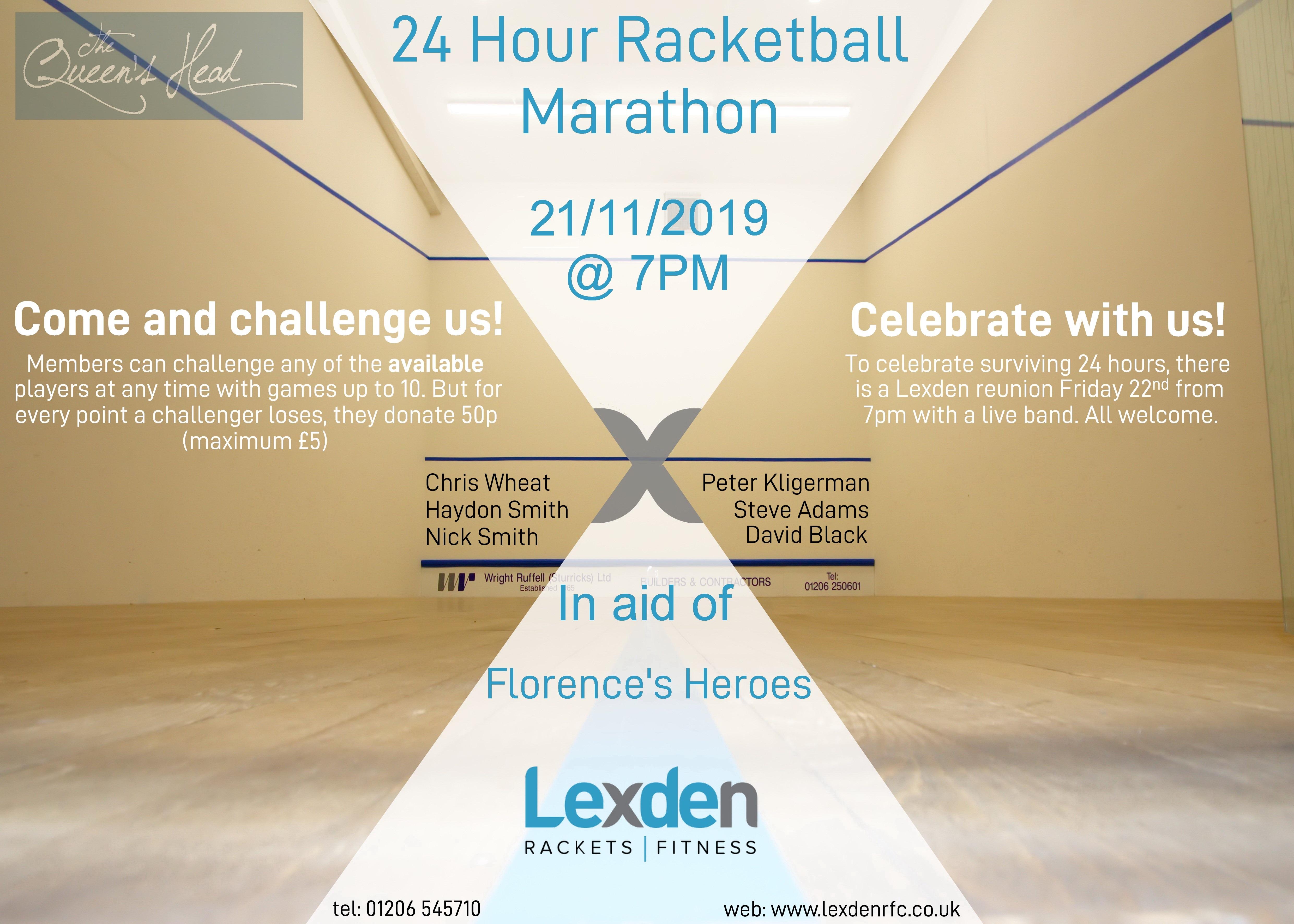 24 hour Racketball Marathon – 21st Nov